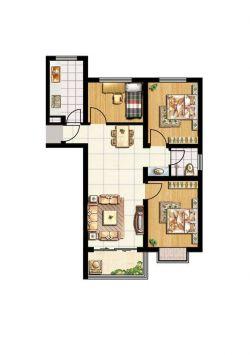 2014最新三室两厅一厨一卫家居室内设计效果图
