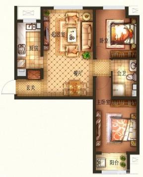 100平方別墅戶型圖 兩室兩廳一廚一衛裝修效果圖片