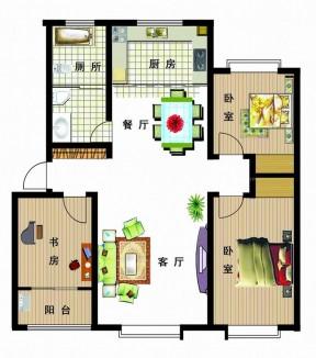 100平方別墅戶型圖 兩室兩廳一衛裝修圖
