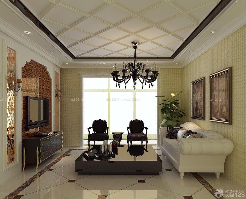 90平米简欧风格客厅地板砖装修效果图