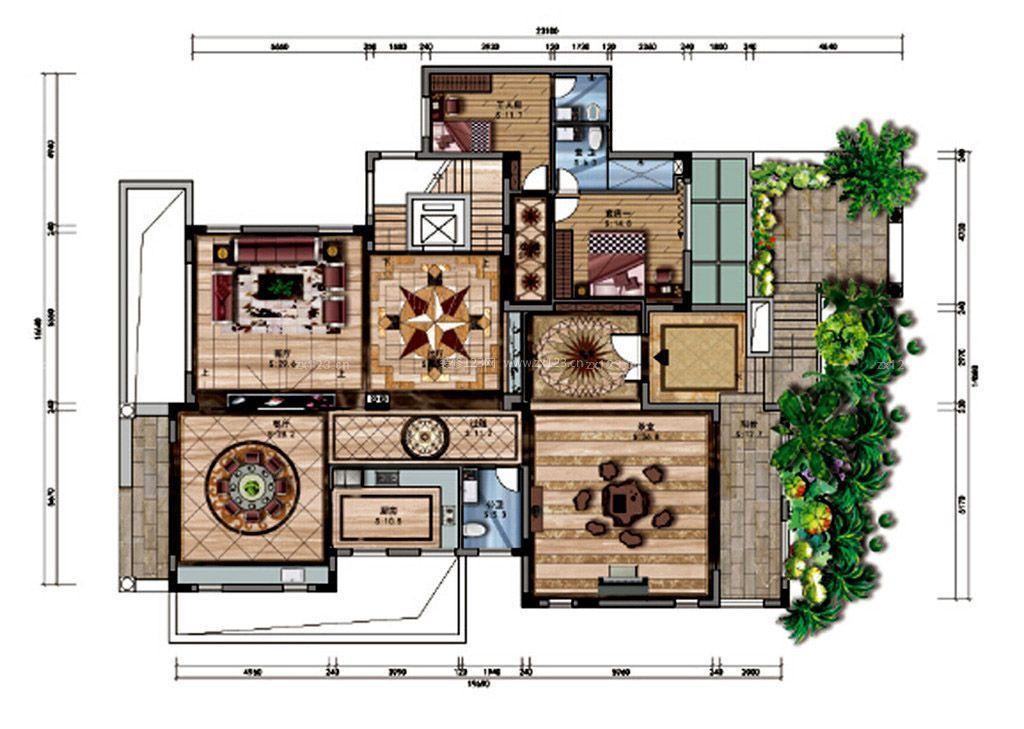 复古风格120平米别墅户型图设计