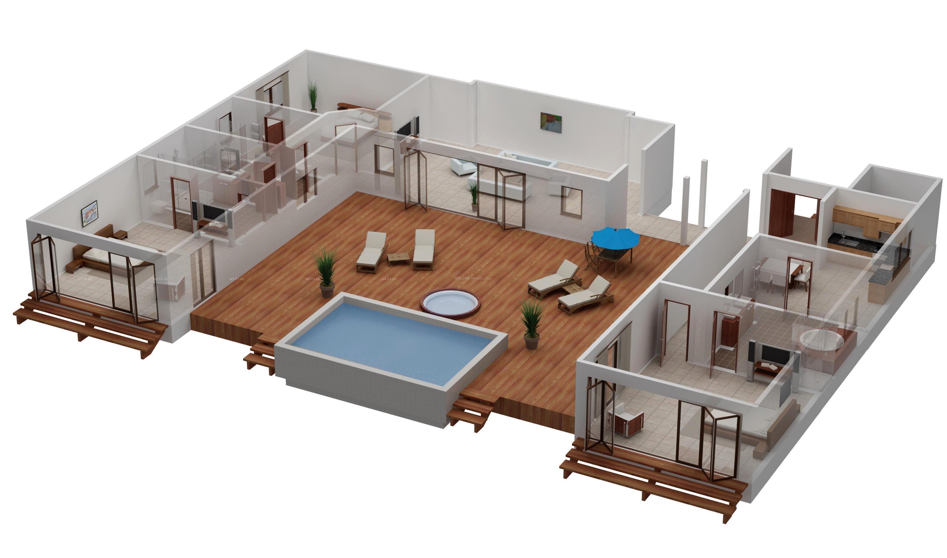 舒适120平米独栋豪华别墅3d户型图设计_装修图片