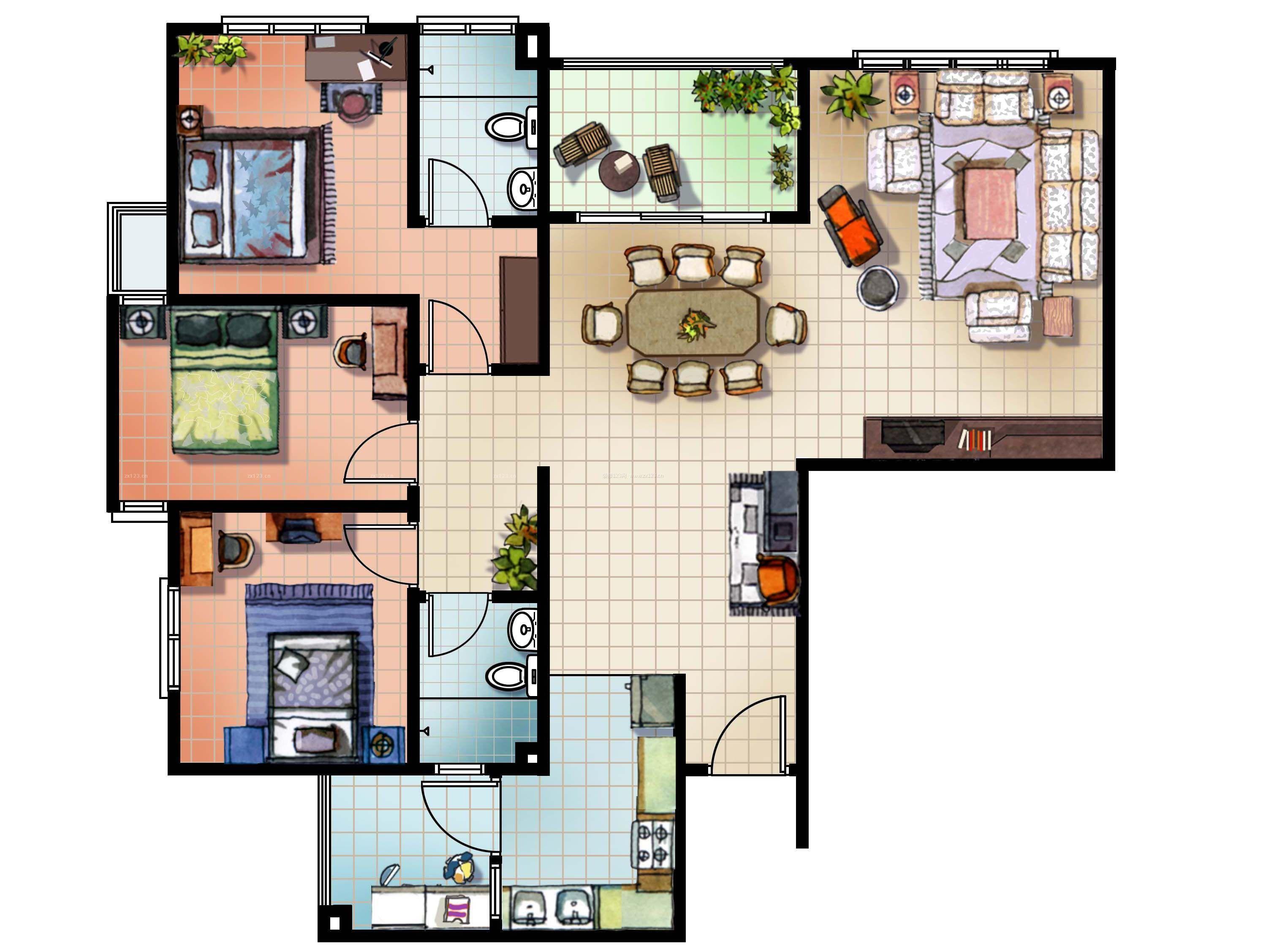 120平米独栋别墅三室两厅经典户型图