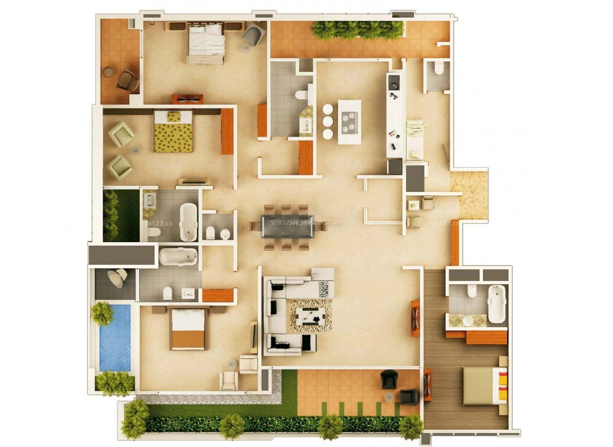 120平米独栋别墅景观阳台设计3d户型图