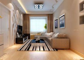 60平米2室1廳裝修 咖啡色窗簾裝修效果圖片