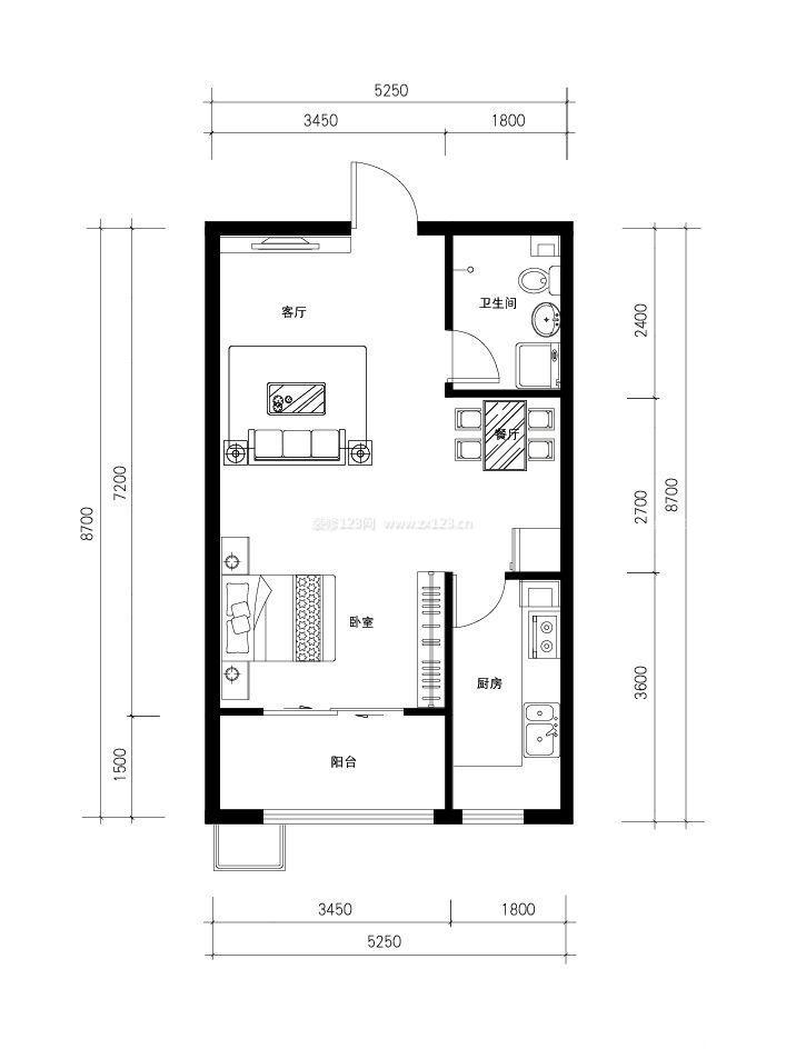 简易自建房屋60平米小户型设计平面图