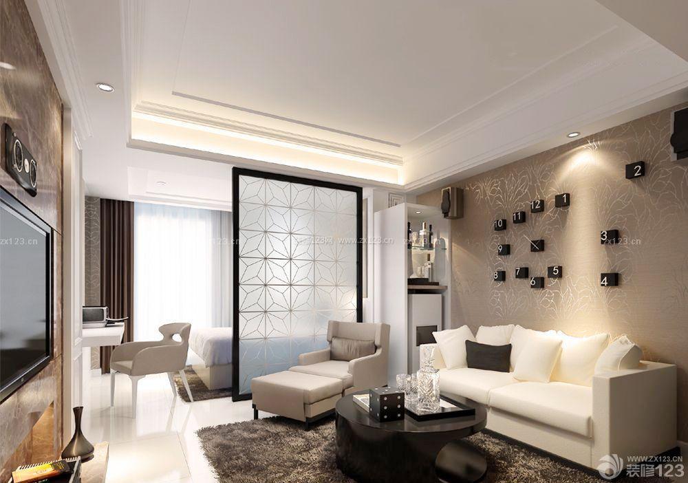 单身公寓装修简易隔断设计效果图欣赏