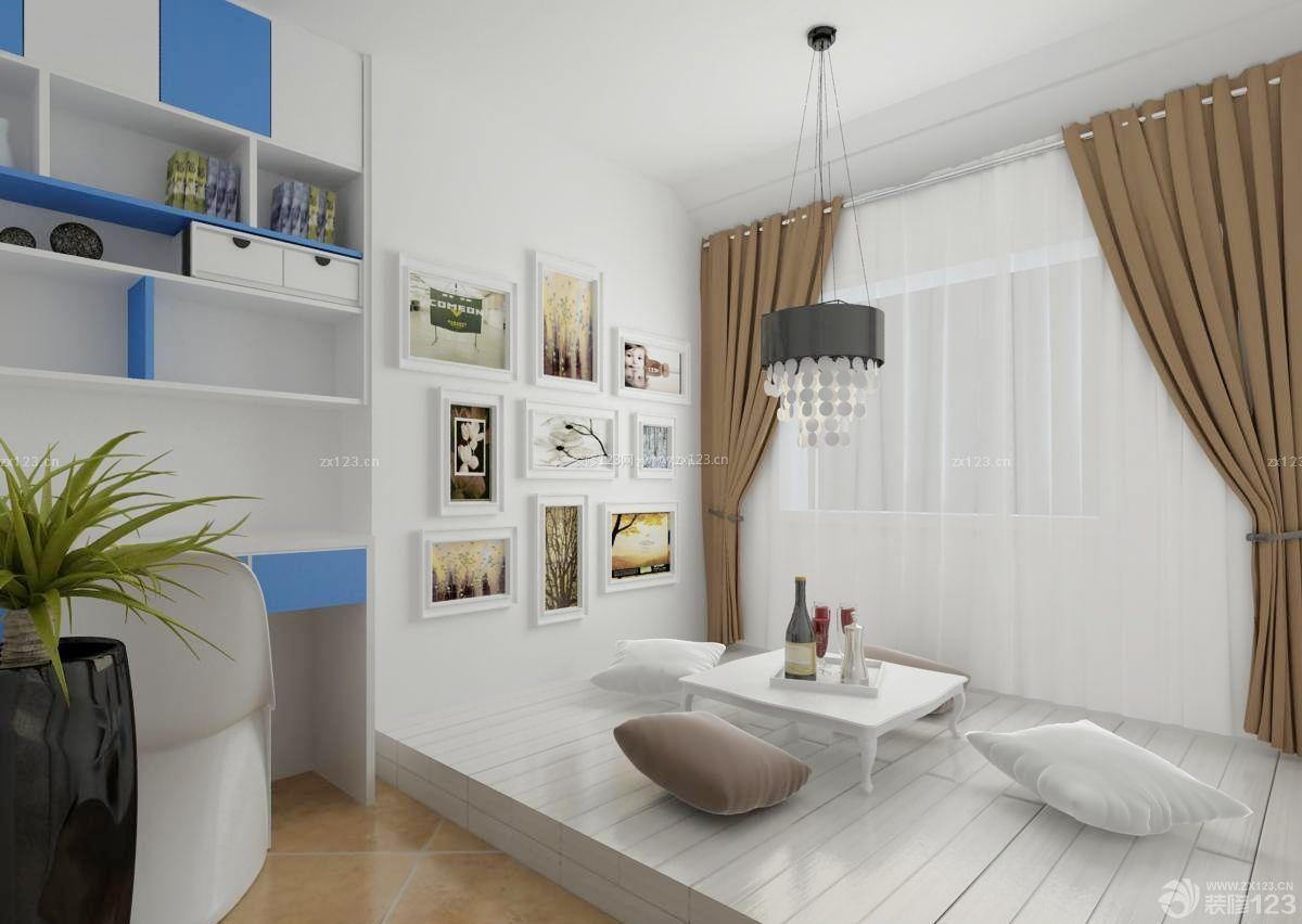 精致家装地台白色木地板装修效果图图片