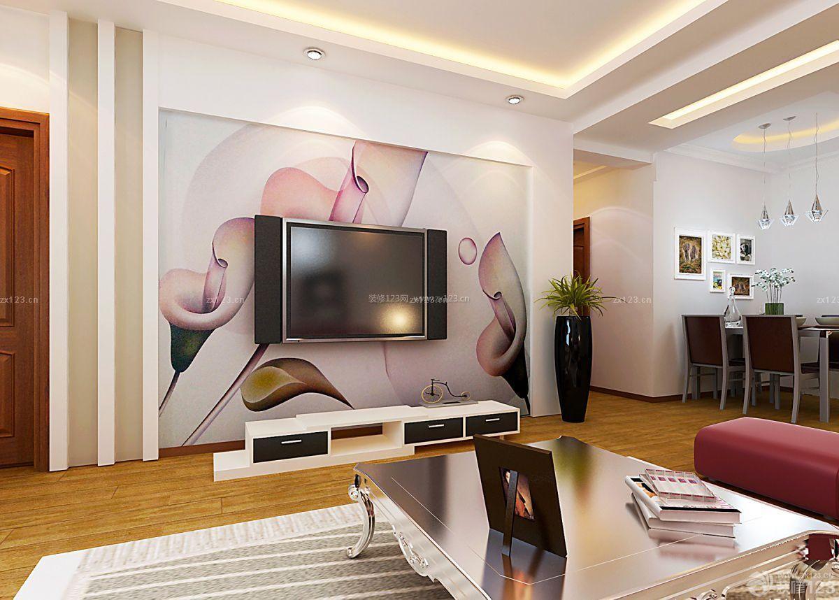 现代风格电视背景墙手绘装修图片