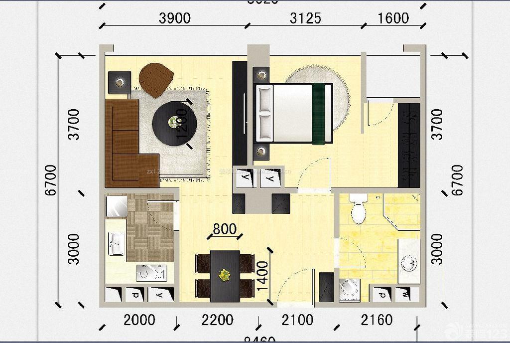 60平米小户型酒店式公寓设计平面图样板