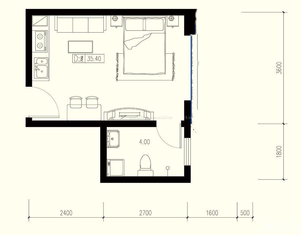 单身公寓60平米小户型设计平面图样板大全