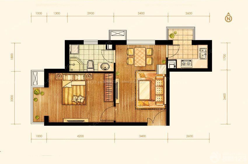 农村房子60平米小户型设计平面图图片