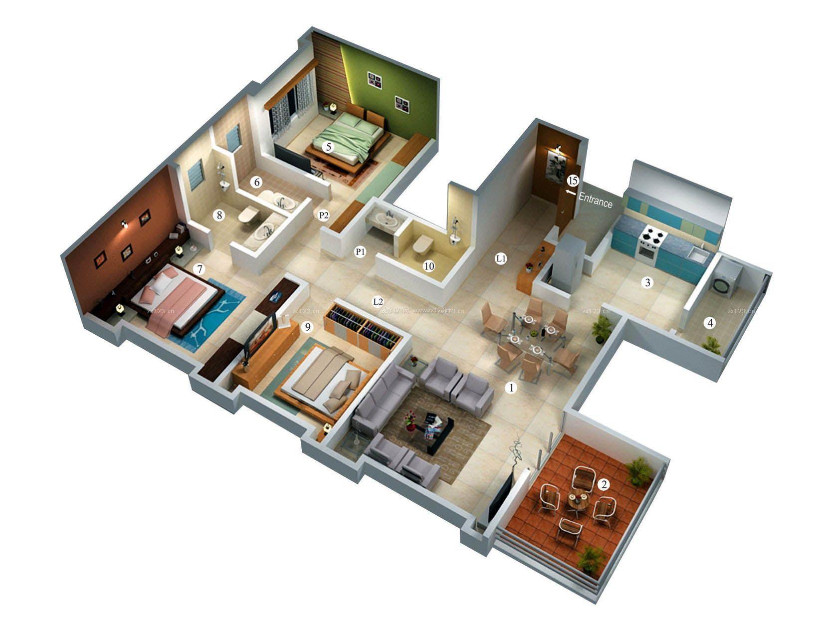 最新120平米农村别墅三室两厅3d经典户型图