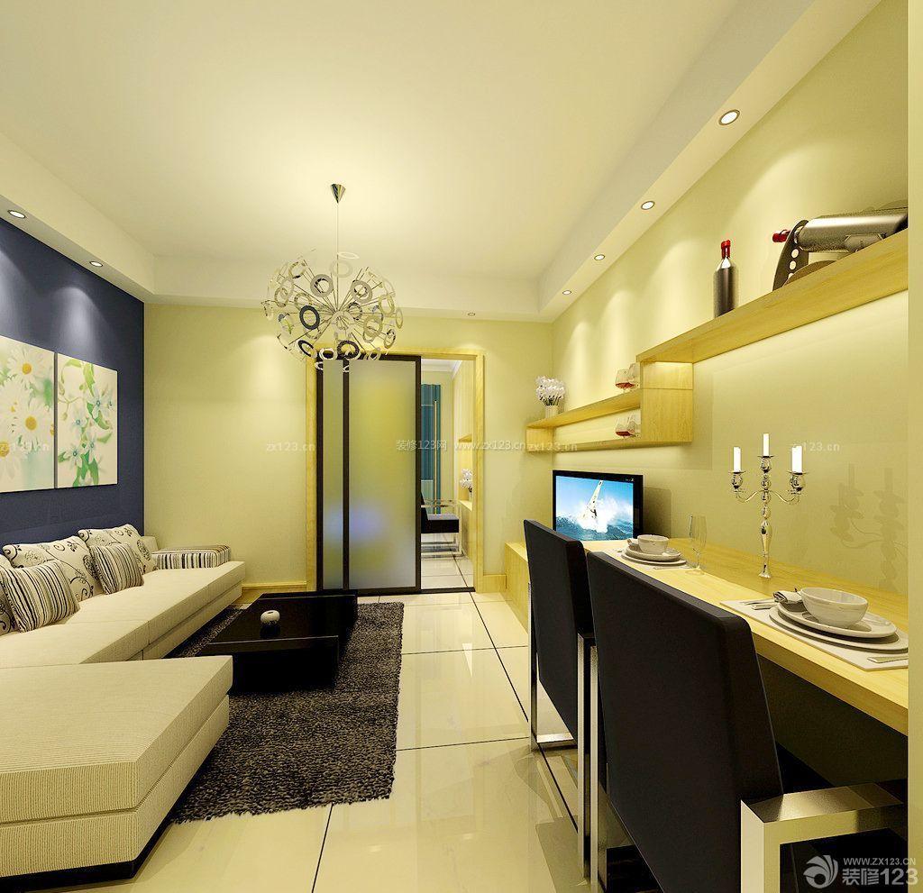 温馨60平方两室一厅客厅白色地砖装修效果图样板