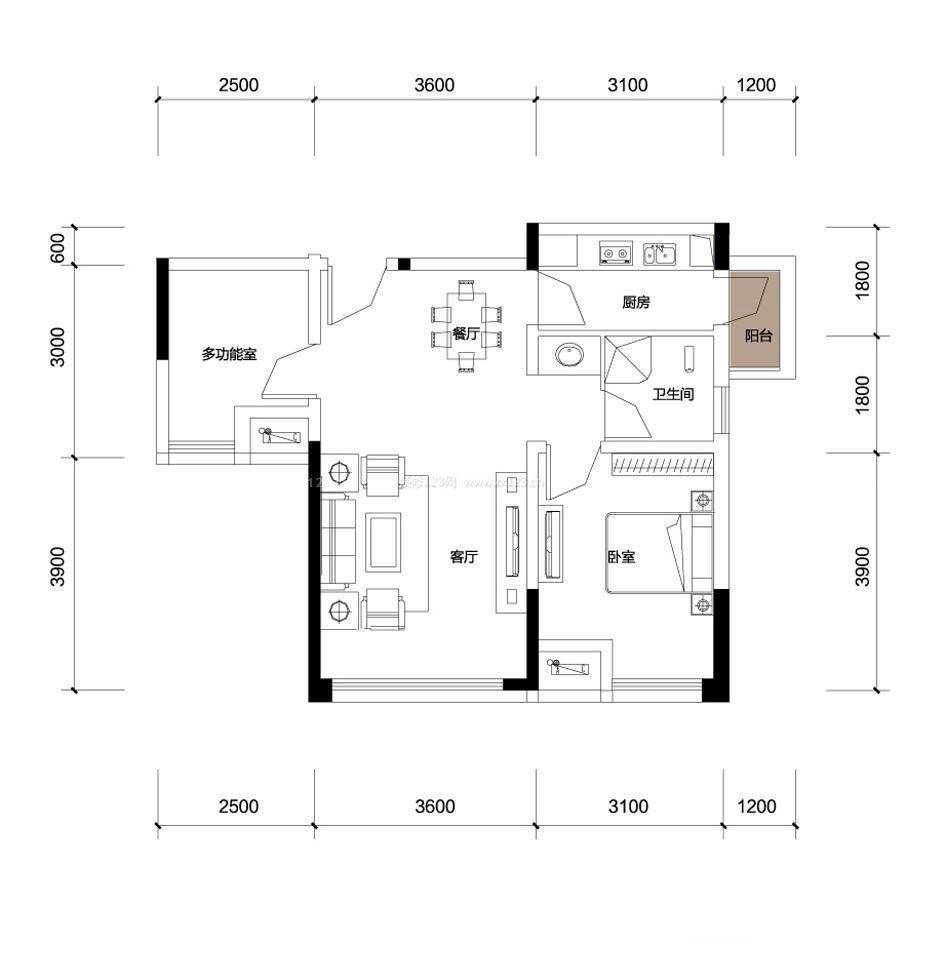 60平米小户型设计平面图户型图设计