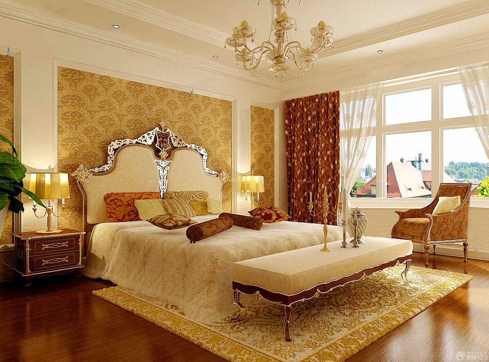 80平米小户型欧式卧室床装修效果图图片