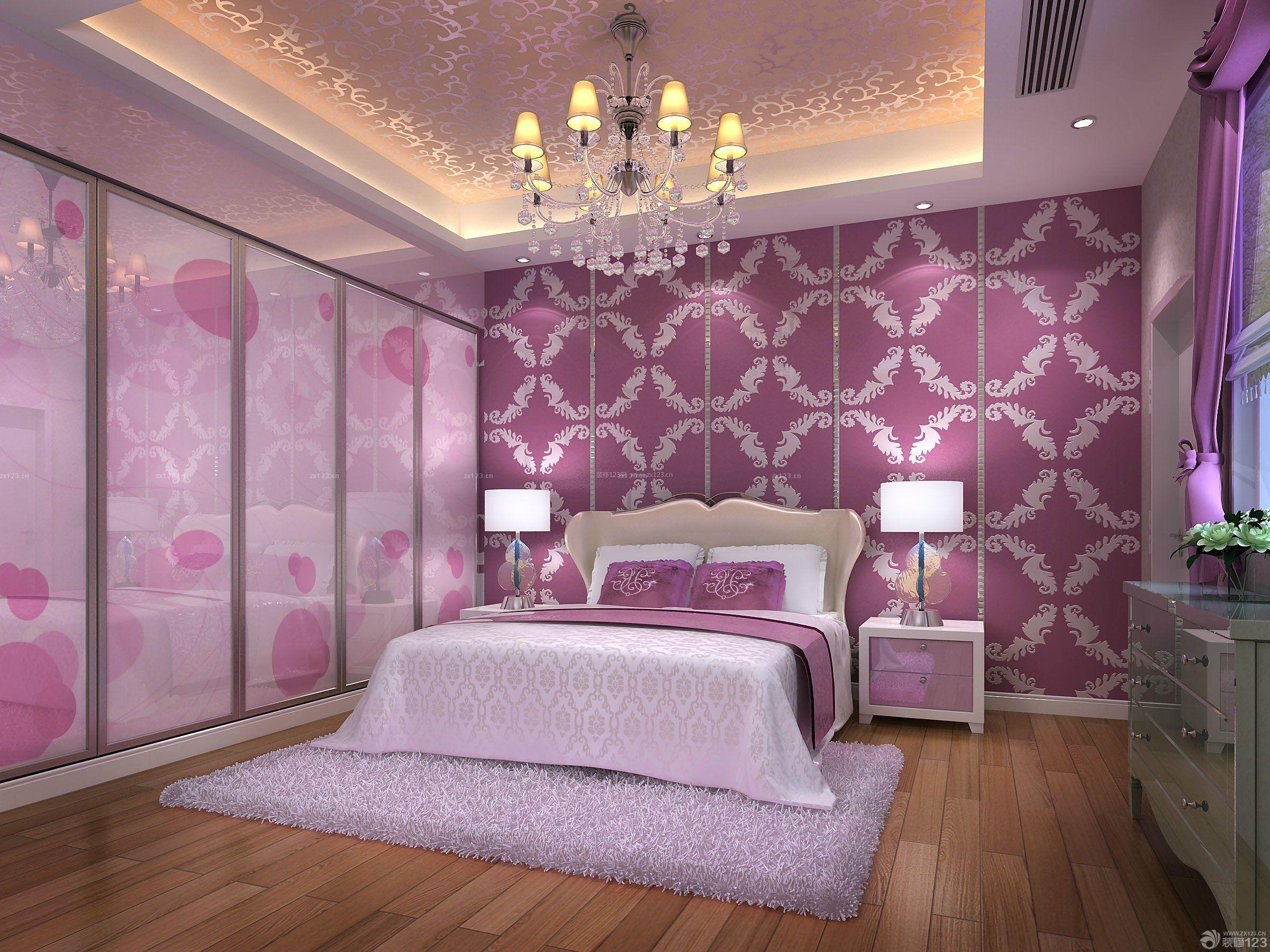 80平米小户型卧室床头壁纸背景墙装修效果图