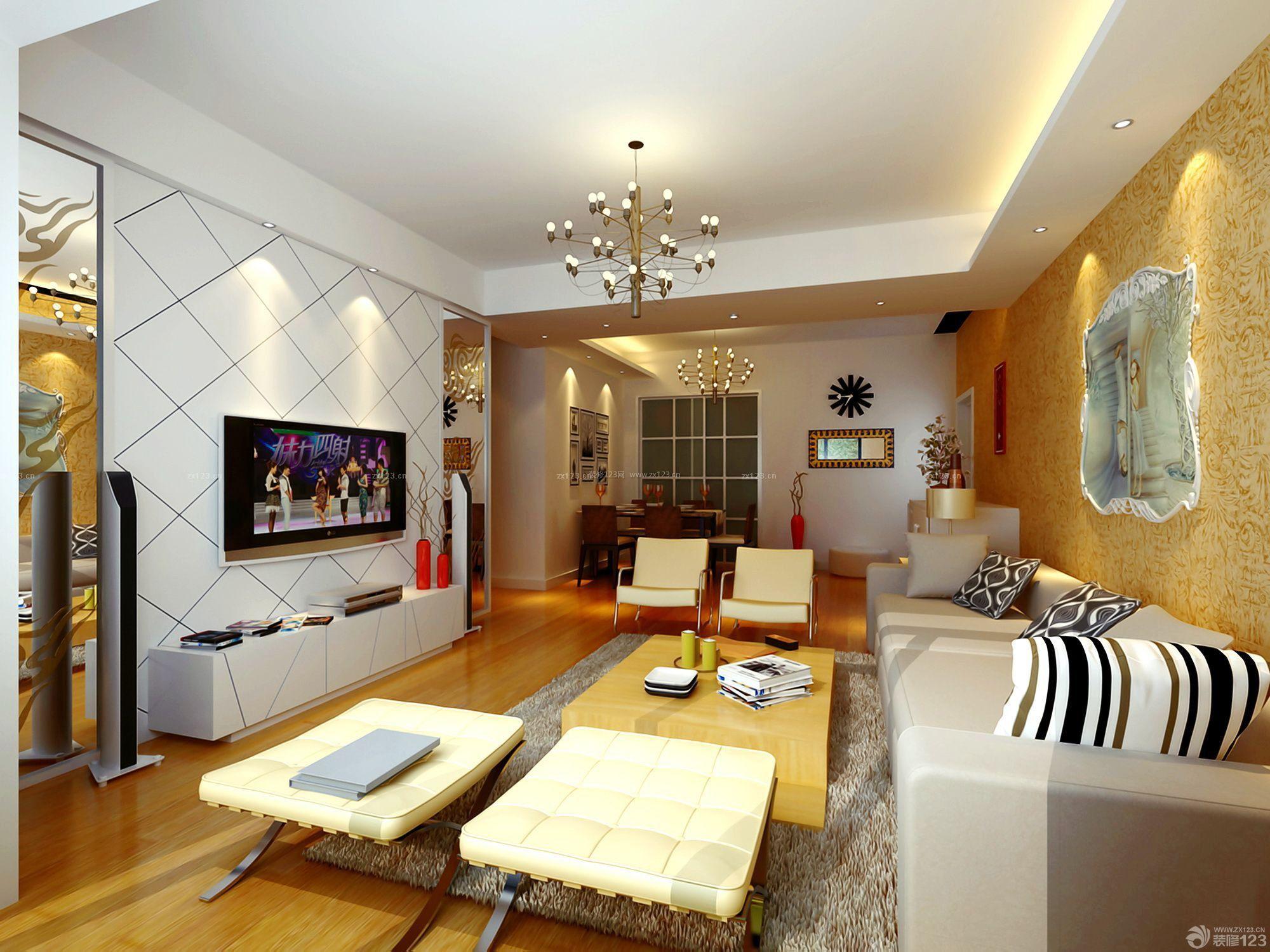 2室2厅80平米简欧风格壁纸装修效果图图片