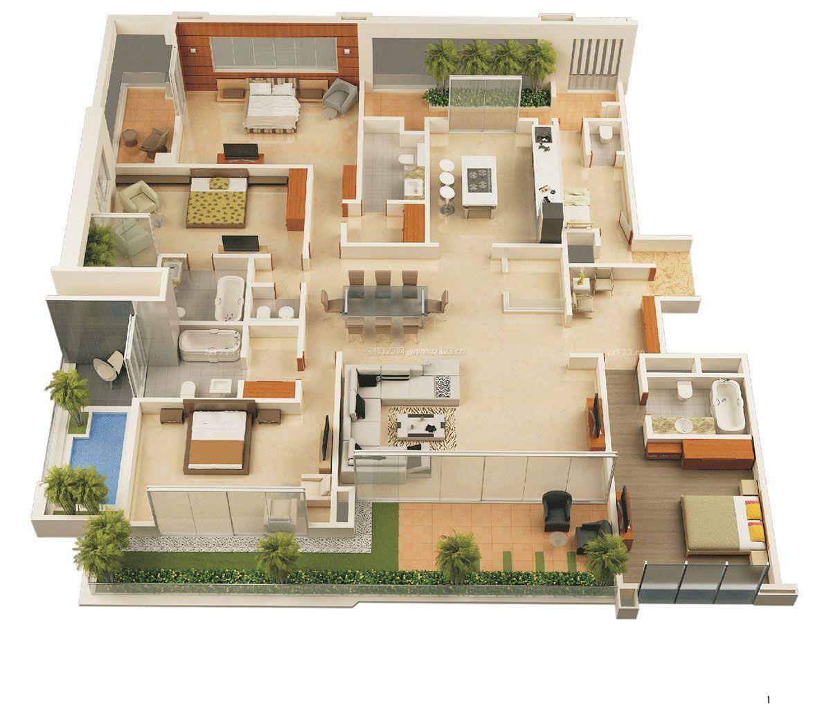 大型私人别墅房屋设计平面图大全_装修123效果图