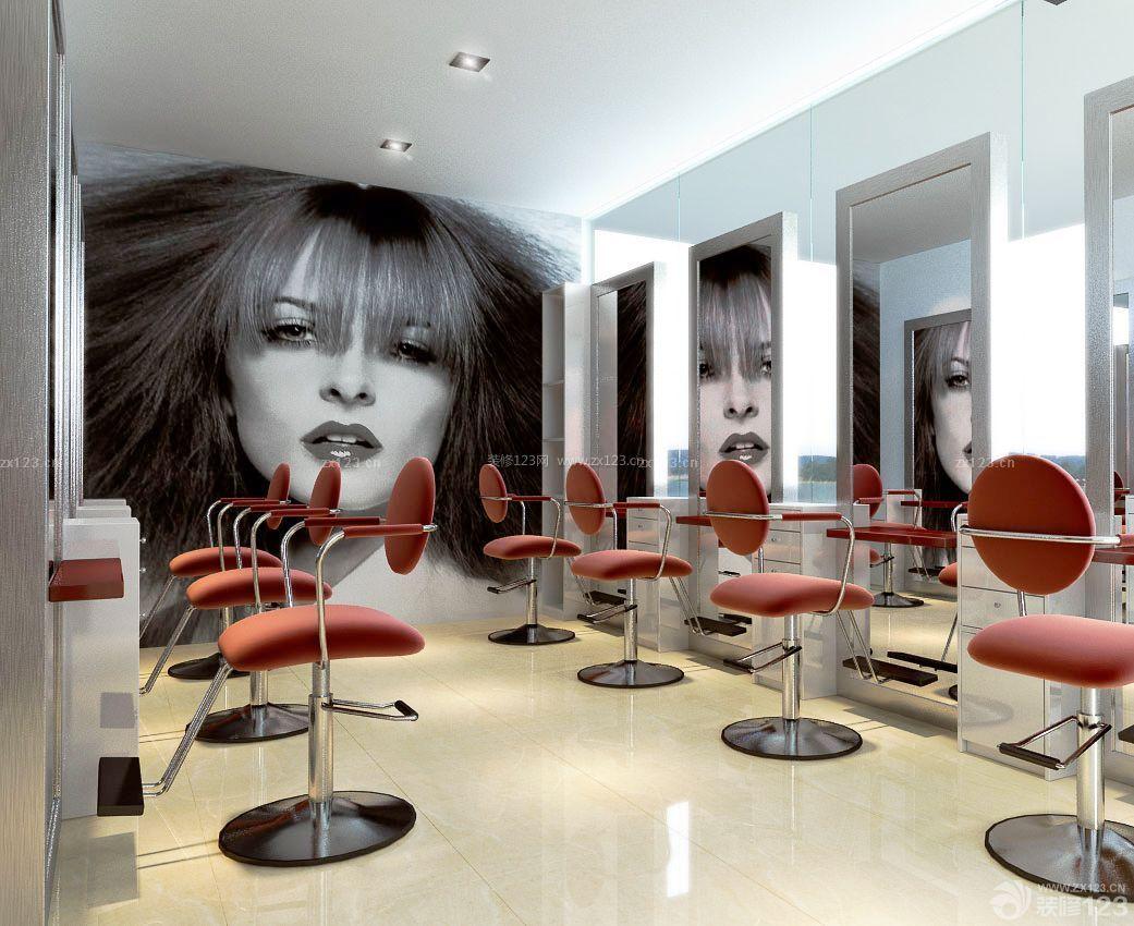 创意60平方小型美发店装饰画装修样板图