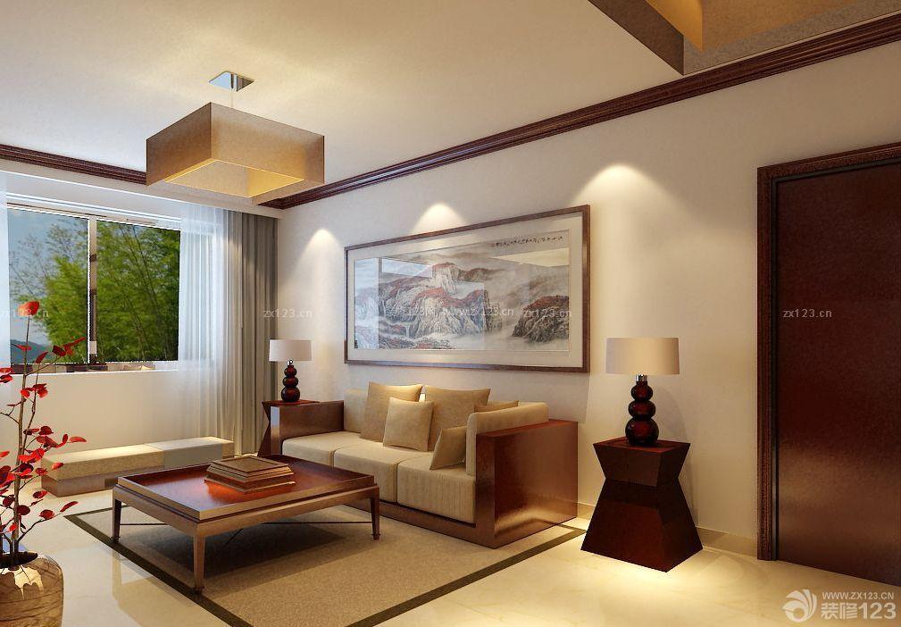 精致家装60平米中式小户型客厅十字绣装修效果图片