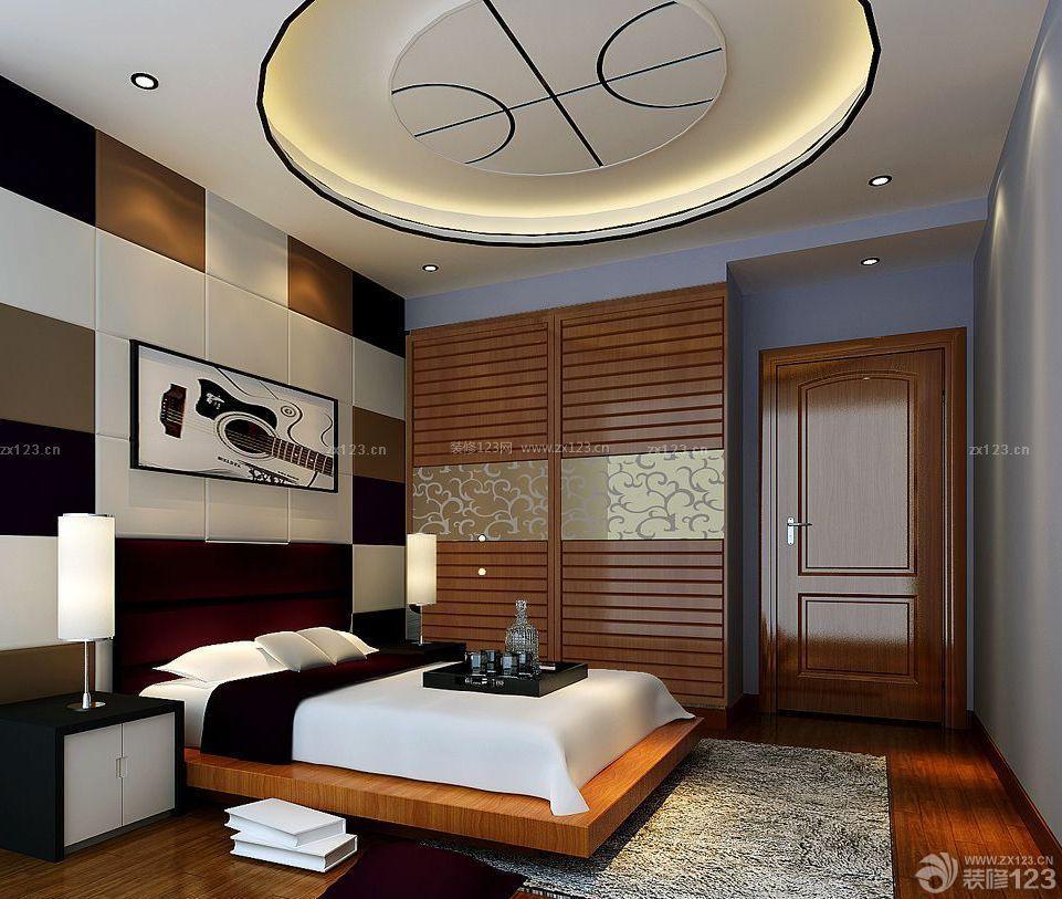 两室一厅卧室圆形吊顶装修效果图片