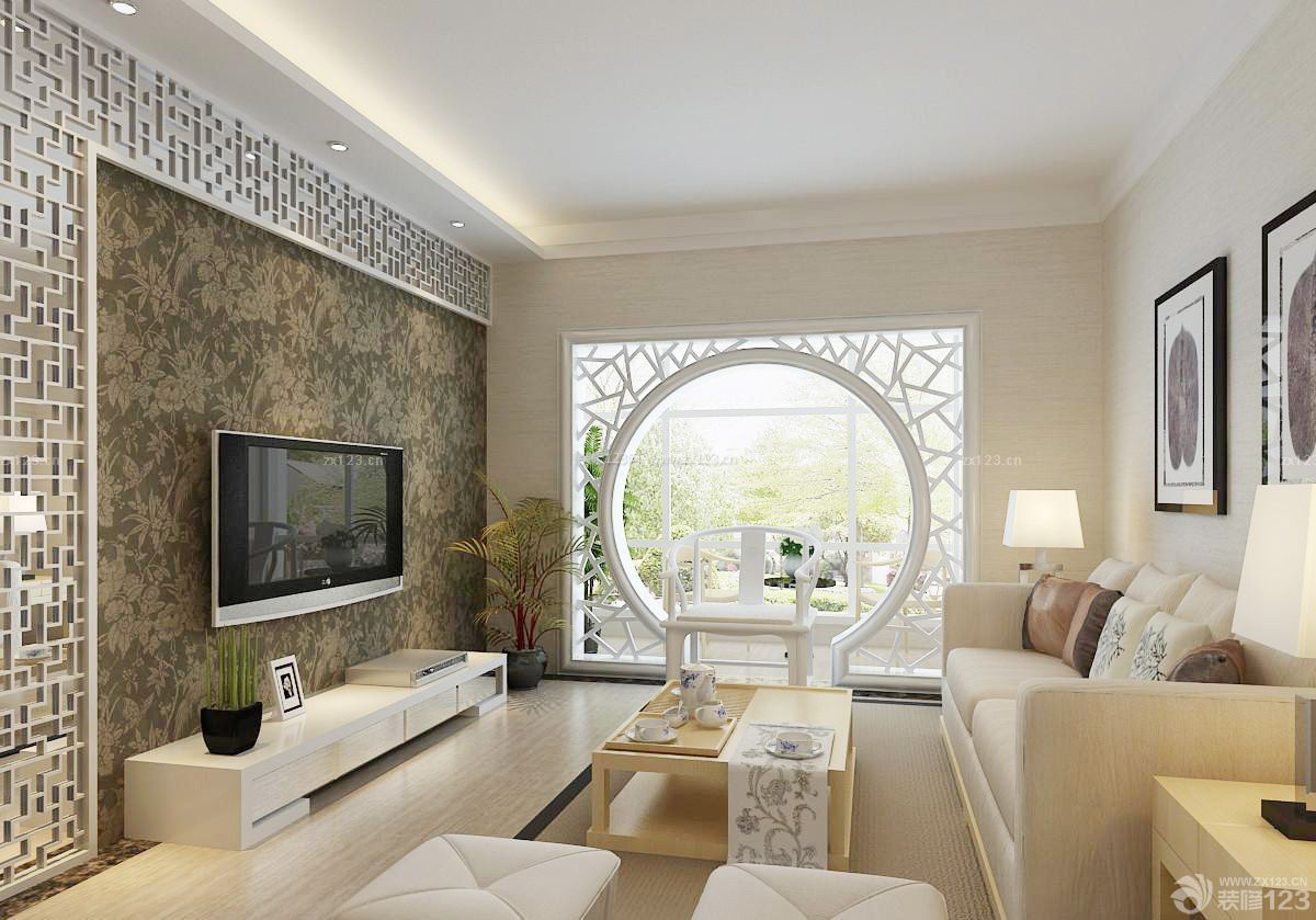 时尚60平米新中式小户型客厅装修效果图欣赏