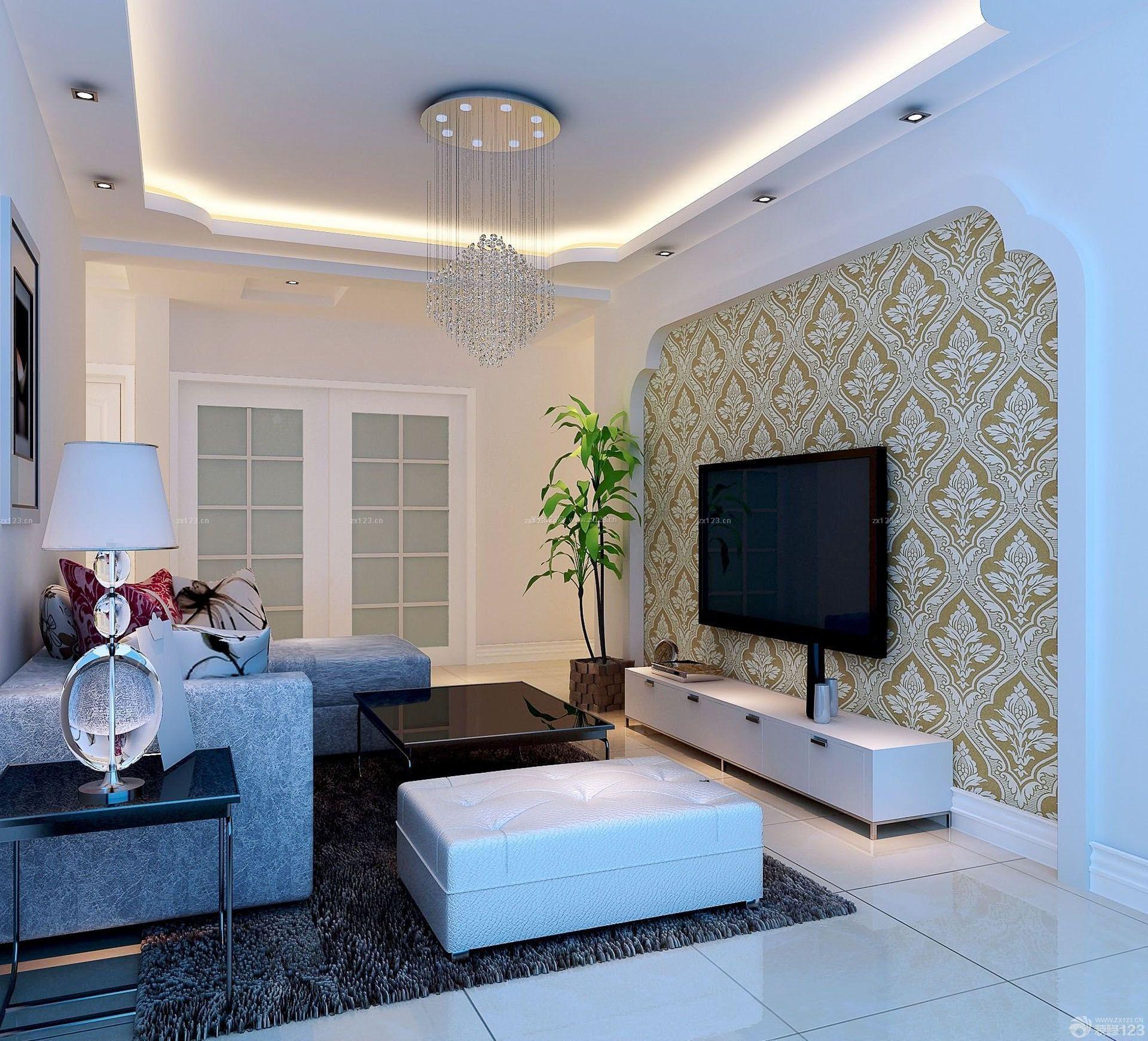 简约风格80平小户型客厅电视墙造型装修效果图
