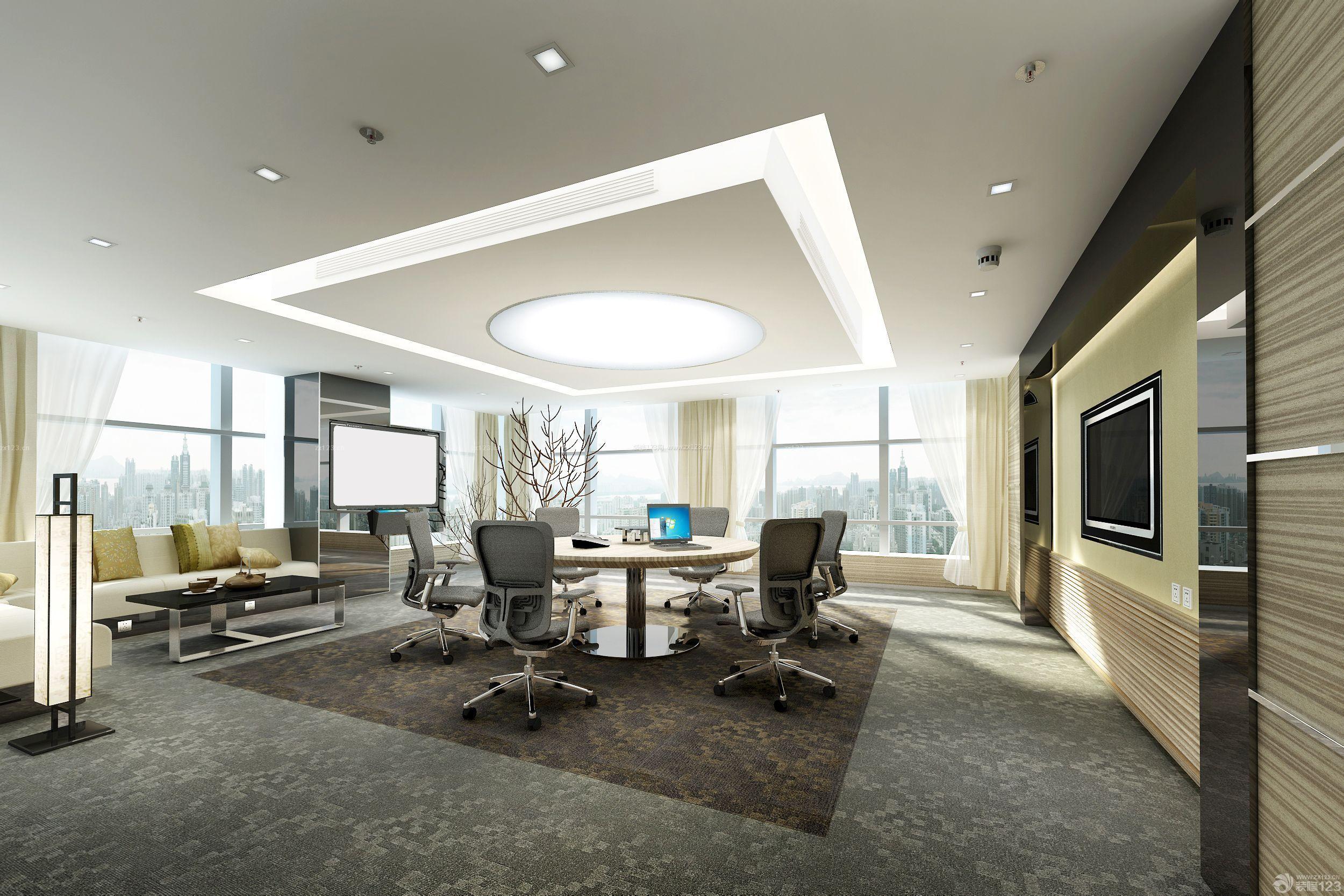 80平米老板办公室工装装修效果图