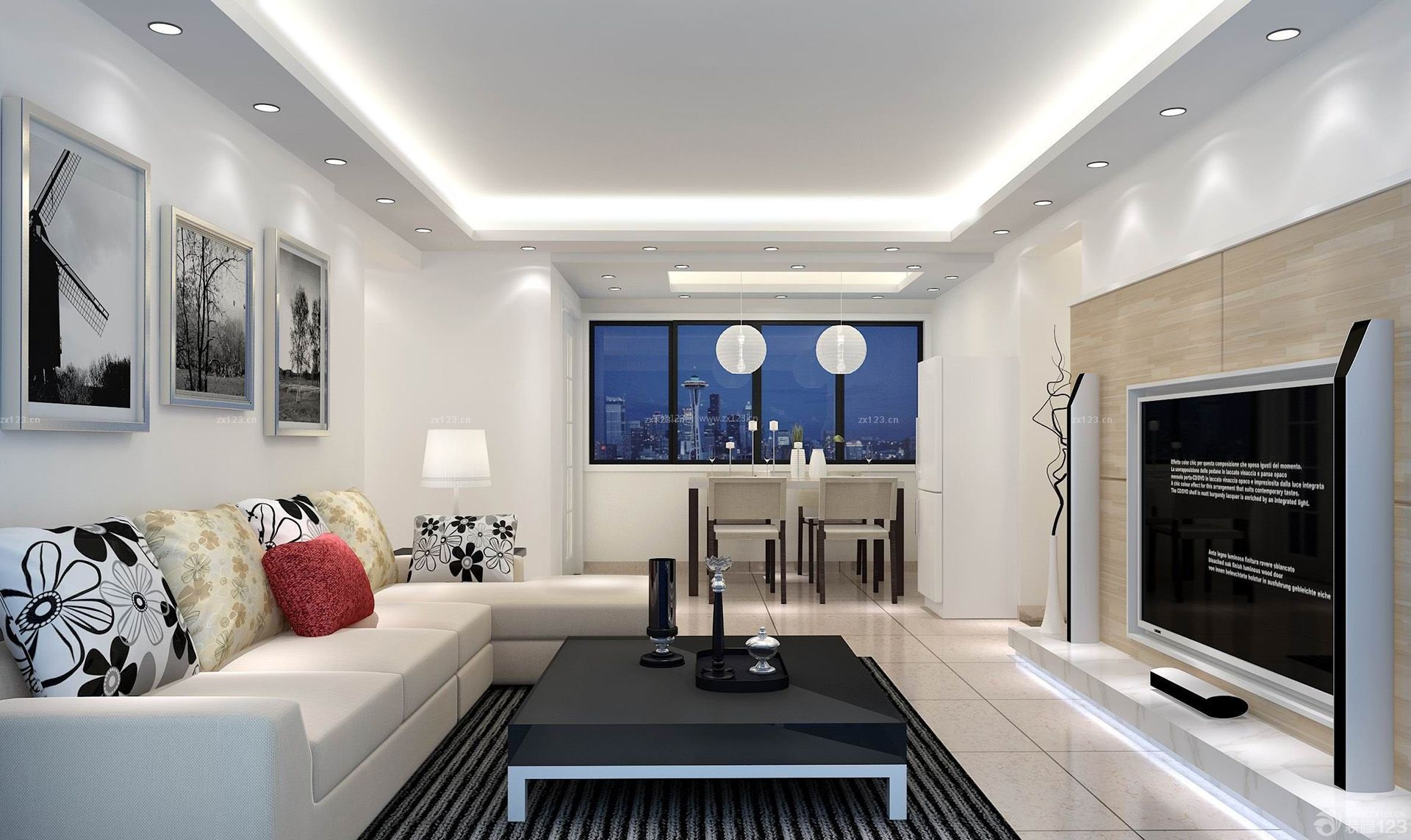 80平小户型客厅沙发背景墙黑白装饰装修效果图