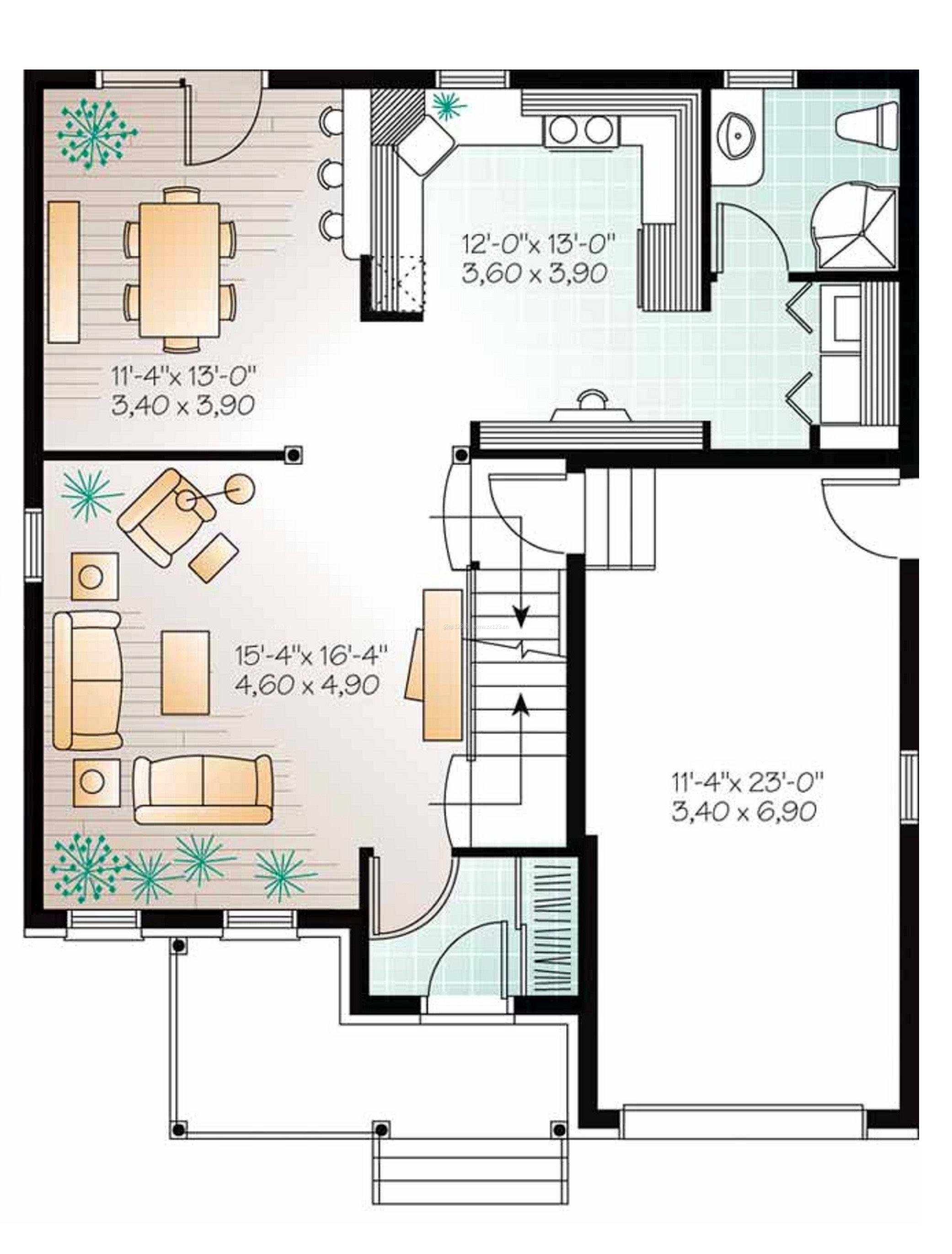 最新120平方米独栋别墅一层户型图设计