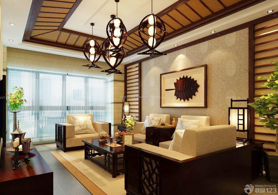 创意60平米中式小户型客厅吊顶造型设计装修效果图