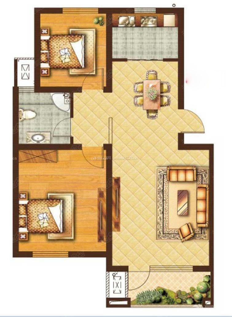70平两室一厅房子户型设计图