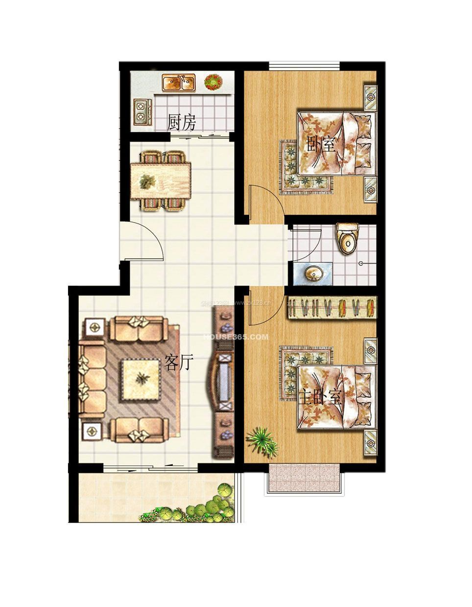70平两室一厅房子设计平面户型图片大全图片