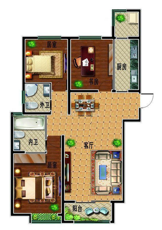 130平米两室两厅两卫别墅户型图