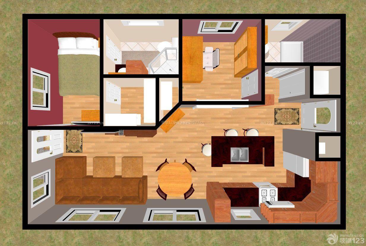 70平两室一厅房子设计平面户型图图片