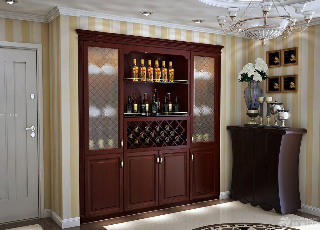 美式复古风格酒柜装修效果图