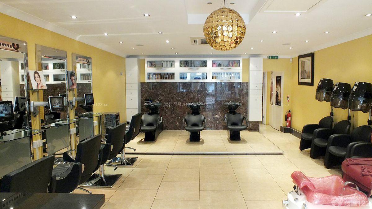 60平米理发店温馨黄色墙面装修效果图案例图片