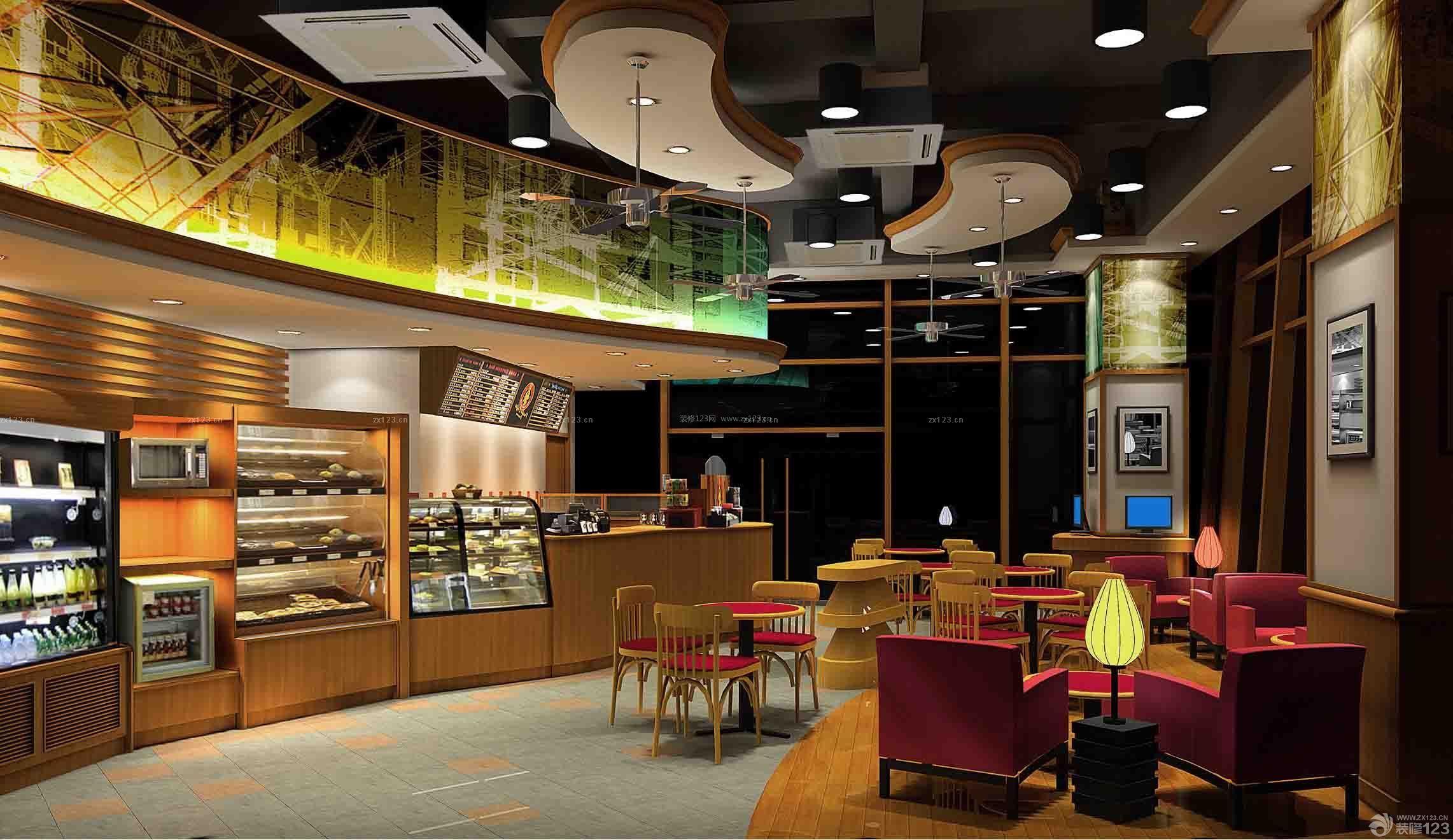 咖啡店波橱窗装修效果图