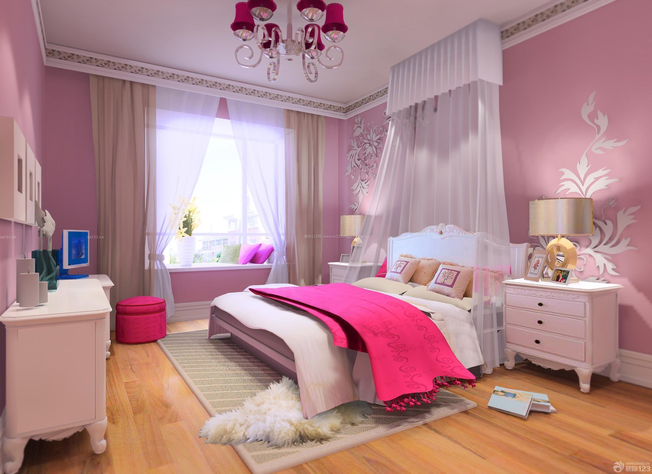 80~90平方小户型彩色卧室装修效果图图片