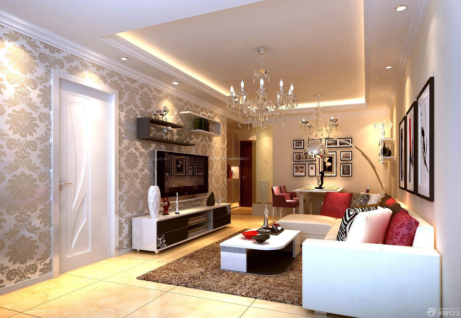 80平米小户型客厅内墙壁纸背景墙装修效果图