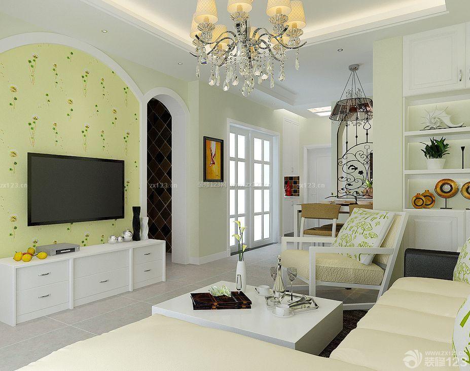90平米三室一厅房屋客厅电视背景墙壁纸装修效果图