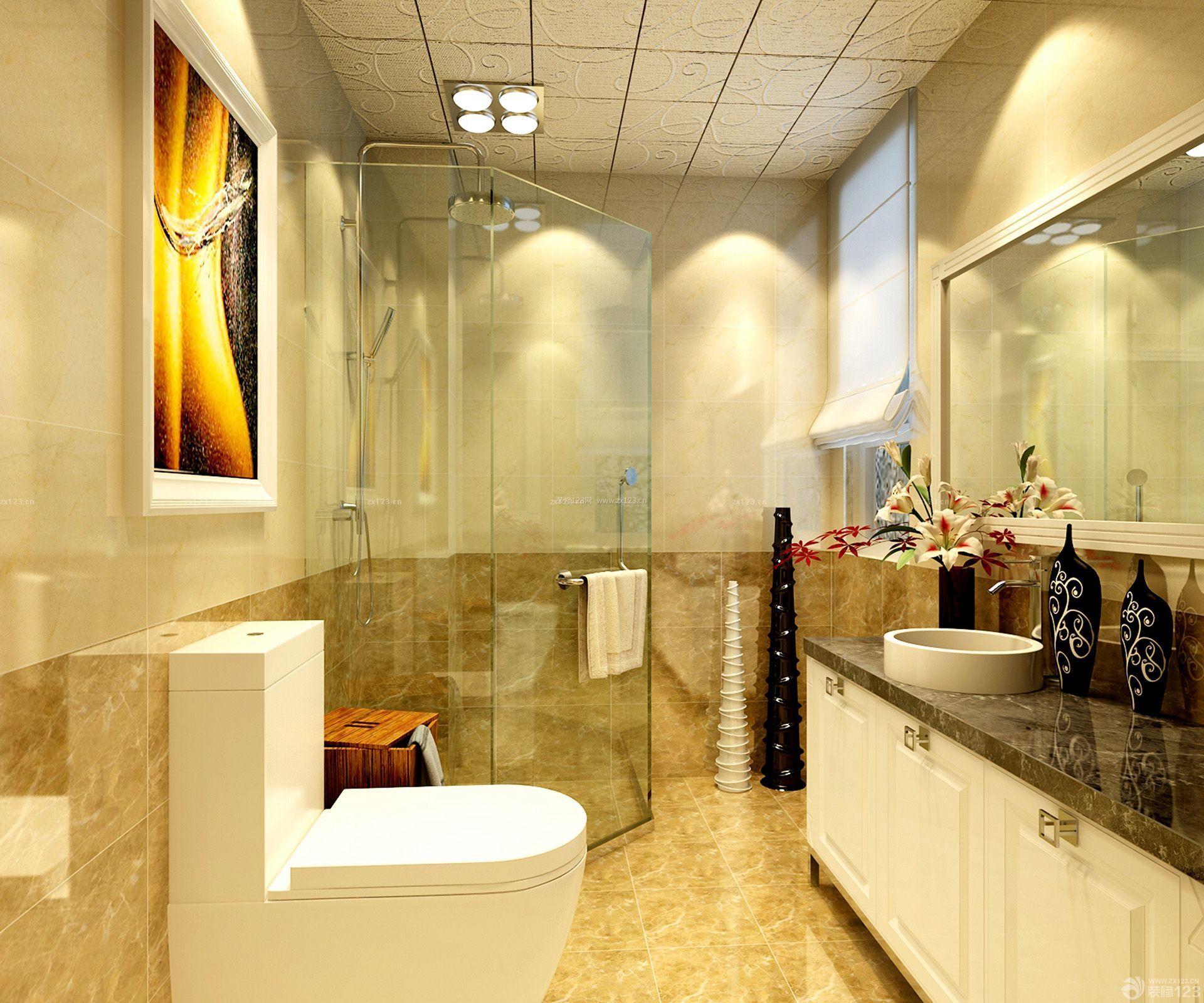80平浴室玻璃门小户型装修设计效果图