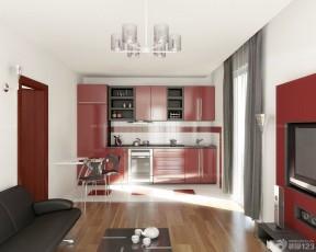 60平方小復式裝修 紅色櫥柜裝修效果圖片