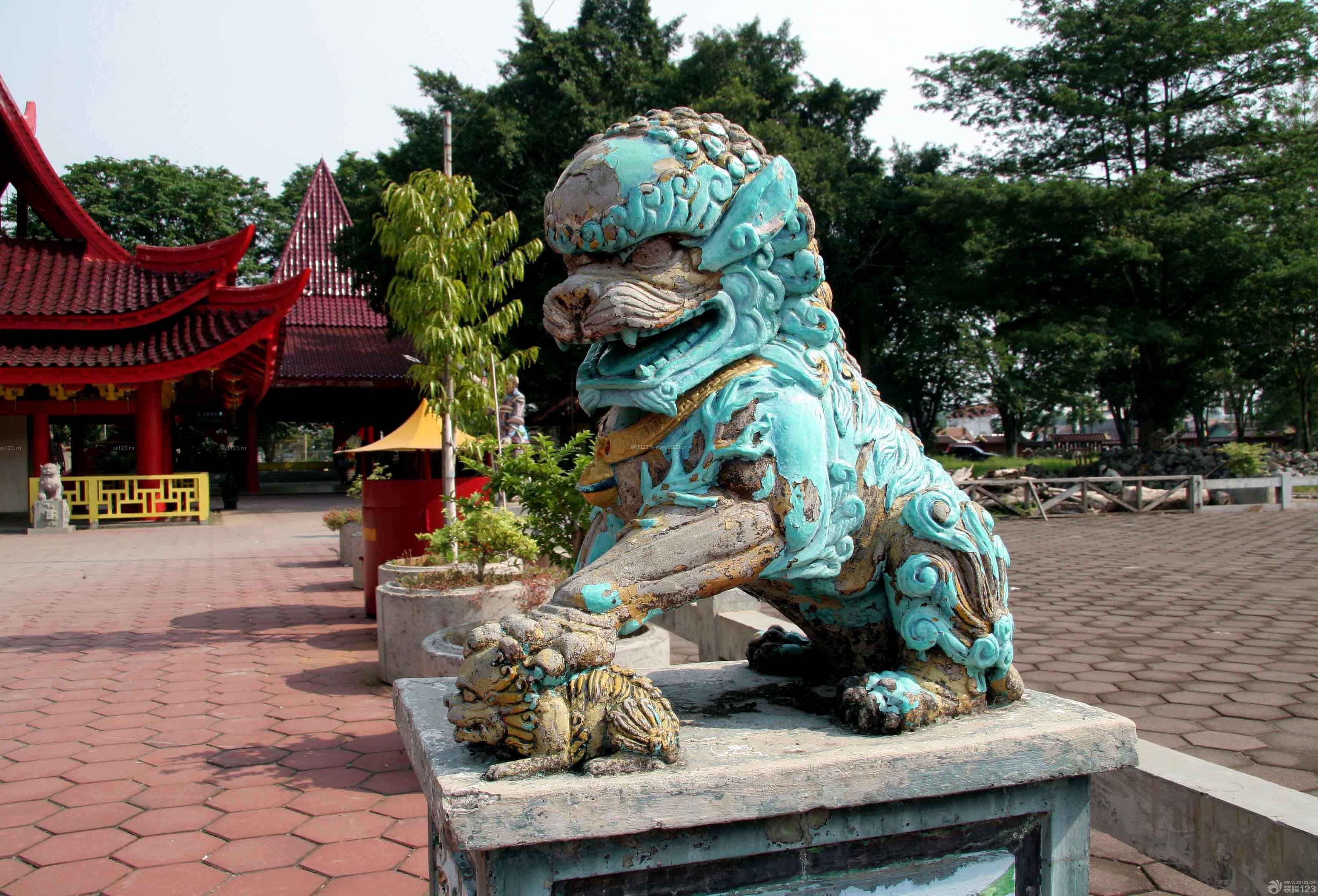 中式景观石狮子雌狮子造型图片图片