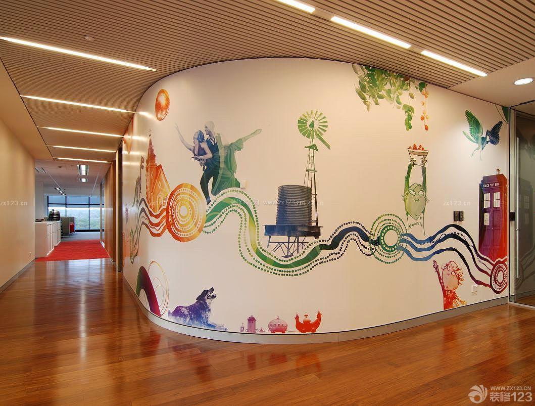 时尚简约走廊玄关墙体彩绘设计装修图片