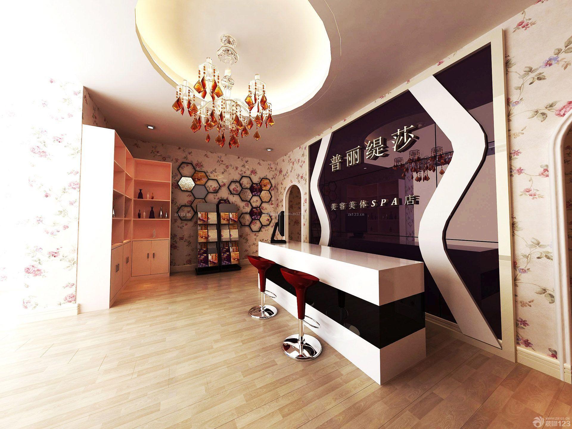 80平米美容院前台背景墙装修设计效果图_装修