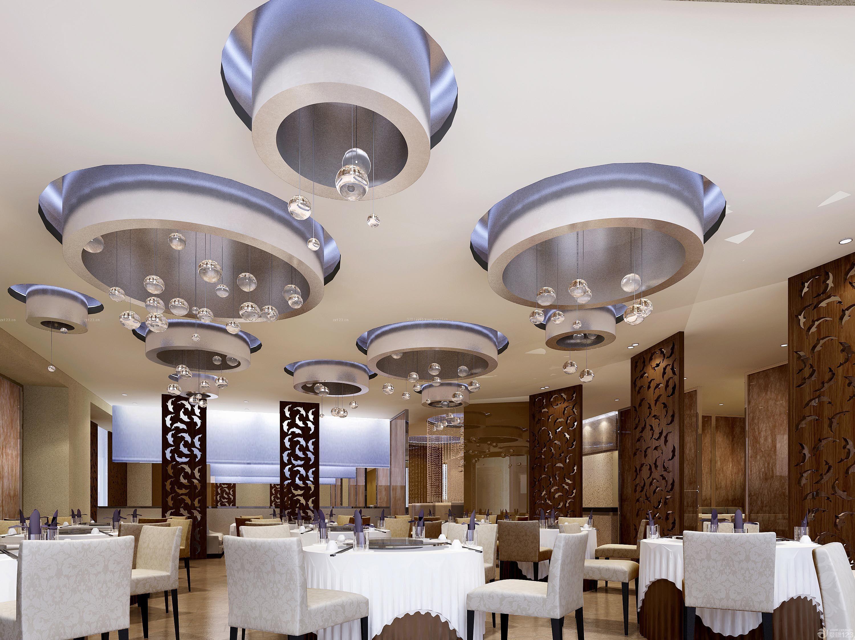80后老人与海主题餐厅圆形吊顶装修效果图