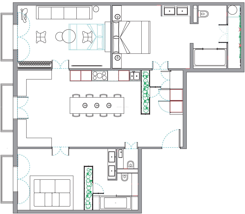 100平方房屋室内设计平面图