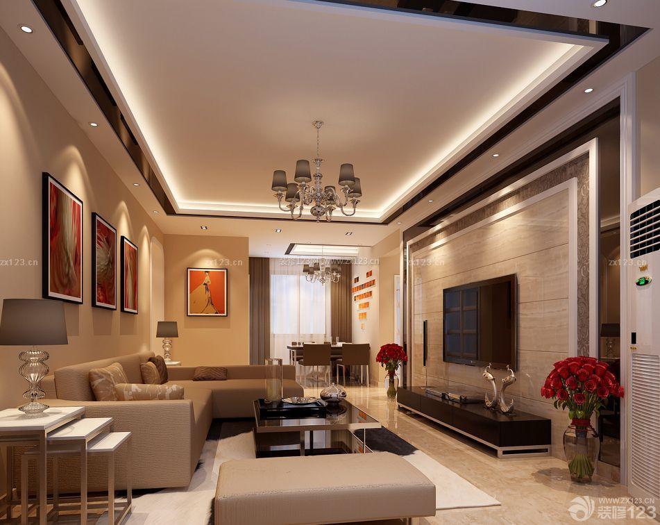 最新90方房子客厅石材背景墙装修效果图